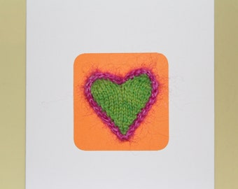 Knitted heart card