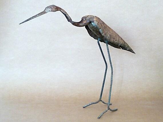 Metal sculpture hand hammered sheet steel heron art