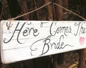Rustic Handmade Hand Painted Wedding Sign On Reclaimed Wood 'Here Comes The Bride'