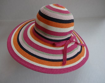 Angela and William Strawville Striped Floppy Hat