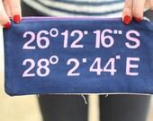 CUSTOM Wedding Sun Print Longitude Latitude Bag