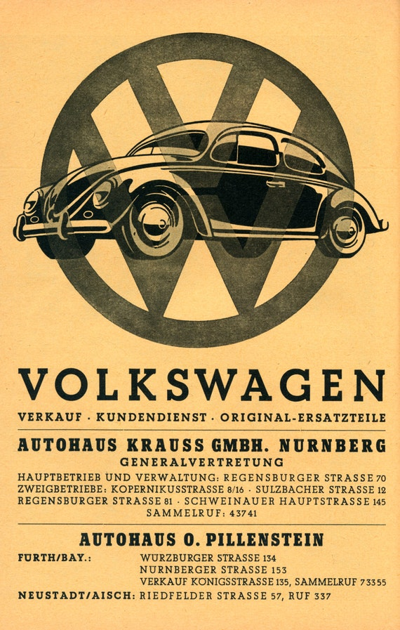 Reprint Of A 1930s Vw Poster By Vpcompany On Etsy
