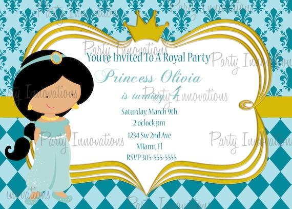 Printable Princess Jasmine Birthday Party Invitation plus – Princess Jasmine Birthday Invitations