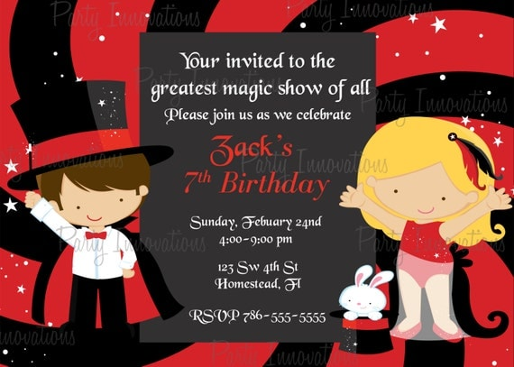 Printable Magic Show Party Invitation plus FREE blank – Magic Party Invitations