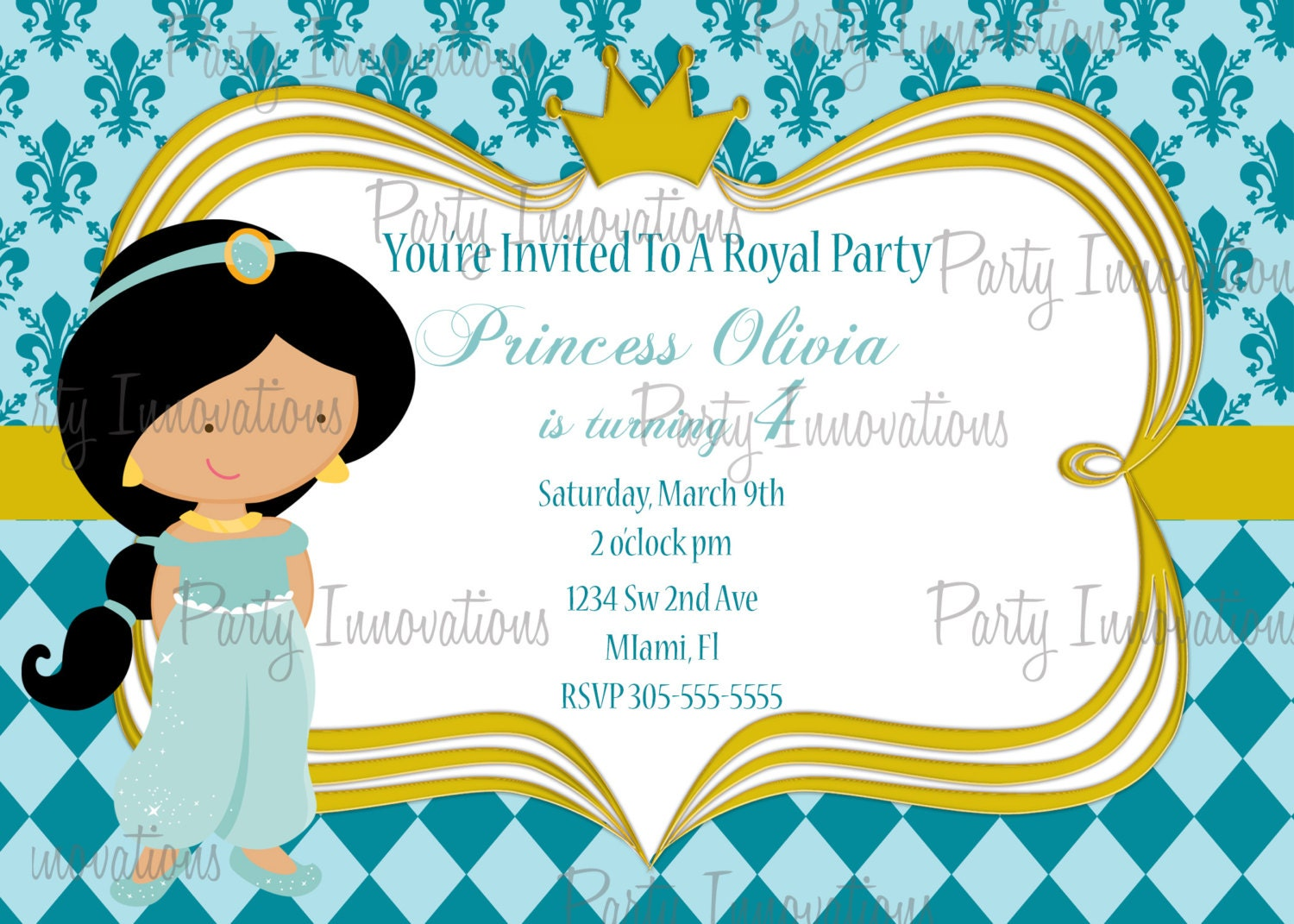 printable princess jasmine birthday party invitation plus 🔎zoom