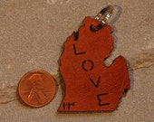 Michigan Love Leather Keychain