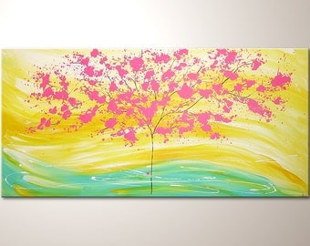 """Original modern art painting """"Happy in sunlight"""" , abstract contemporary artwork, wall decoration,acrylics,decor, large,XXL,tree,nature"""