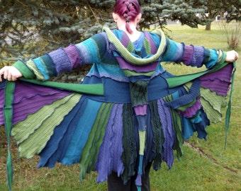Custom Upcycled Sweater Pixie Coat - Amethyst, Emerald, & Lapiz Lazuli