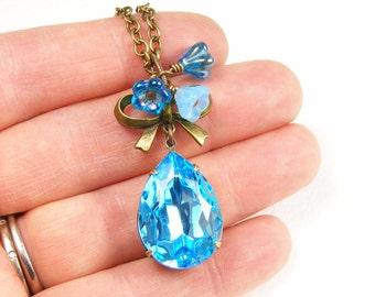 Aqua Blue Crystal Pendant Necklace, Handmade Vintage Style Jewellery, March Birthstone Birthday Gift