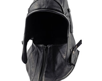 Genuine Leather Aviator / Bomber Cap with detachable collar and polar fleece or cotton lining - black