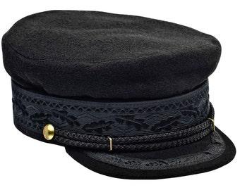 Hamburg type merchant fleet cap. Sailor / Mariner hat made of woolen cloth with lining - black