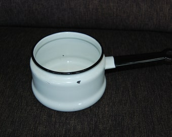 White Enamelware Pot with Black Trim