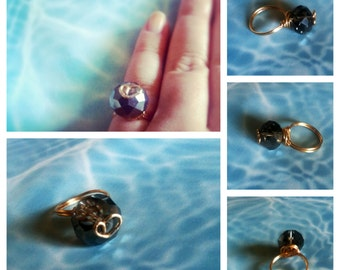 Smokey Grey Crystal Ring With Gold Heart