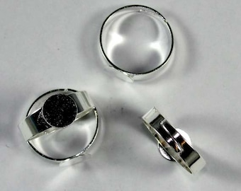 Five (5) Silver Plated Brass Adjustable Ring blanks with 6mm glue pad