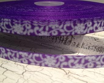 """3 yards 3/8"""" White Lace Flower Swirl on Purple Grosgrain Ribbon"""