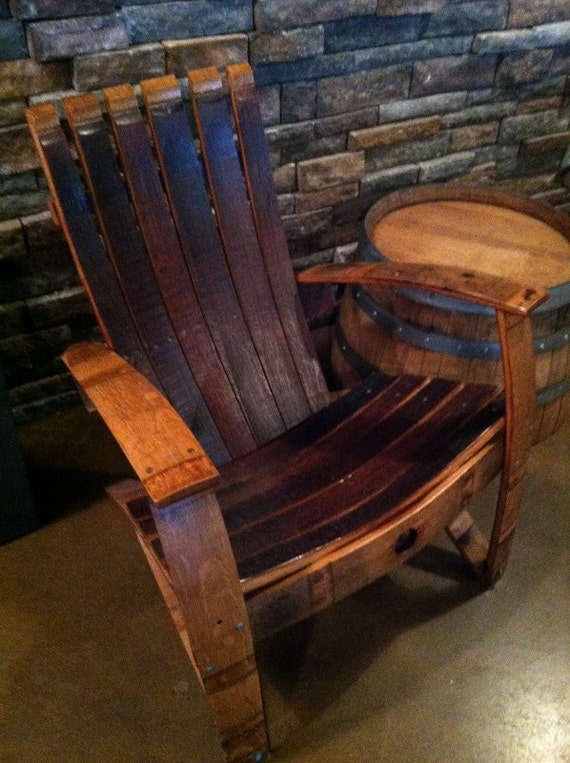 Items Similar To Rustic Adirondack Chair Reclaimed French Wine Barrel Staves Handmade Primitive On Etsy