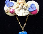 Handmade Angel Buttons and Beads Necklace and Earrings Set