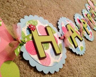 Owl Happy Birthday Banner (Pink, blue, Green and brown)