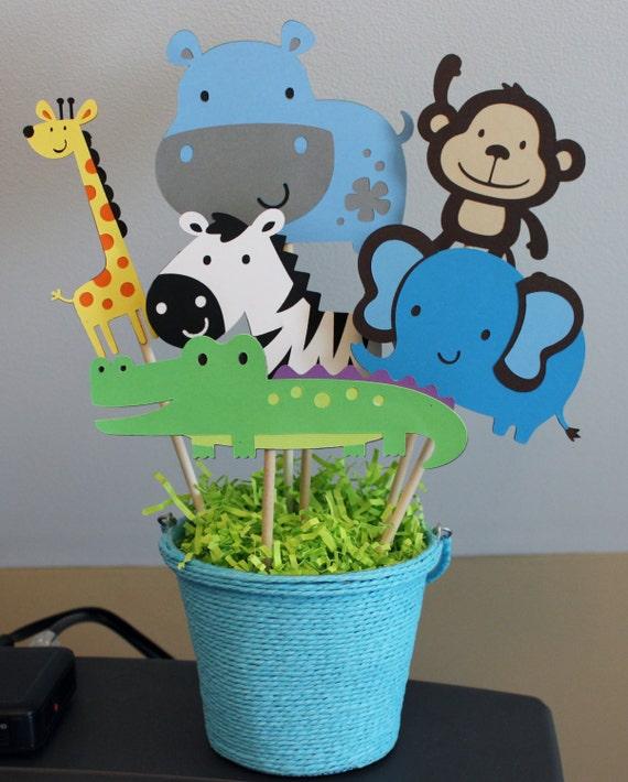 pc safari zoo animal themed centerpiece monkey zebra elephant