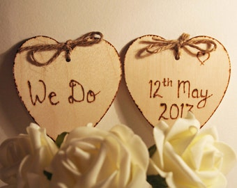 We Do, Rustic Heart Cake Toppers, Personalised Cake Topper