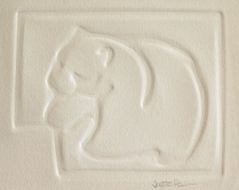 Hand embossed animal cards on archival rag paper