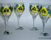 Upcycled Hand Painted Wine Glasses Modern Yellow Black Flowers Spring Wedding Bridal Shower Home Interior Design Style USA Wine Tasting