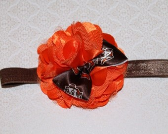 Cleveland Brown's Elf Football Orange and Brown Baby/Infant/Newborn Headband, Makes Great Photo Prop