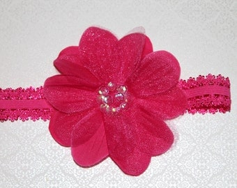 Spring/Easter Beautiful Hot Pink with Sequin Center Flower Baby/Infant/Newborn Headband, Makes Great Photo Prop