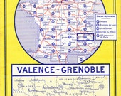 Vintage French Michelin Road Map of Grenoble