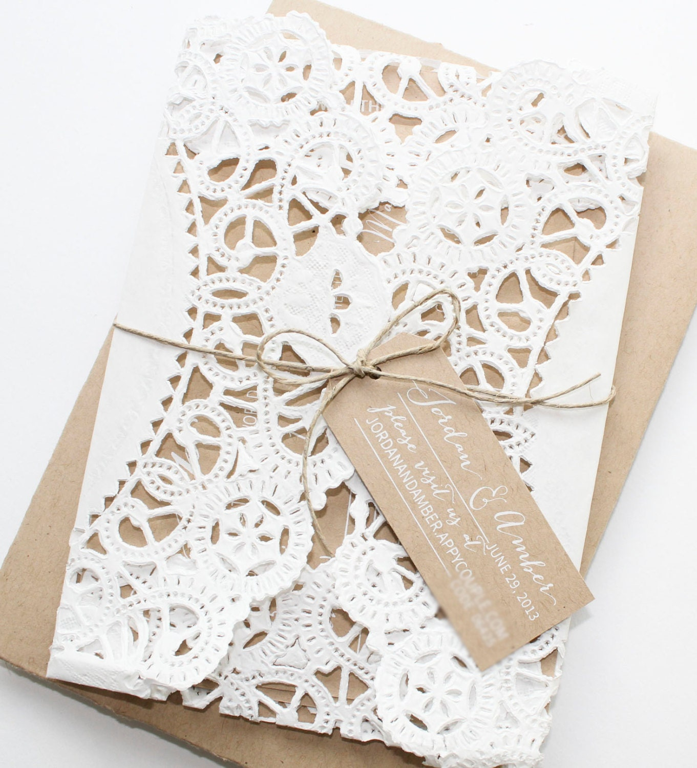 Rustic Kraft Paper Doily Invitations