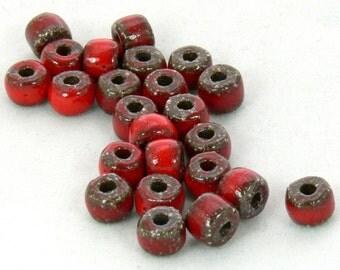 Porcelain Roundel Round Glazed Bead Red- 12 Beads