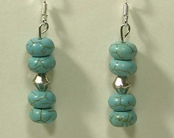 Cynthia Lynn TURQUOISE HOWLITE Beaded 925 SILVER Fish Hook Earrings - 1.75 inches