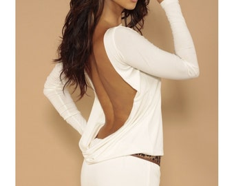 Classic backless dress Cream