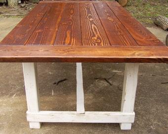 Harford Trestle Dining Table  Farmhouse  Reclaimed Wood  Custom   Handcrafted  Handmade Trestle dining table   Etsy. Farmhouse Dining Table Made In Usa. Home Design Ideas
