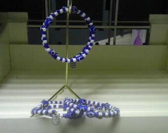 Evil-eye Adjustable Beaded Bracelet with Charm