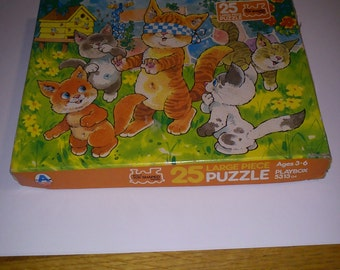 Vintage 25 Piece Jigsaw Puzzle, Happy Kittens Playing in The Garden