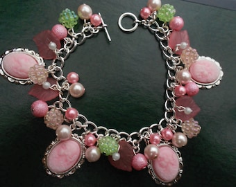 Pink Cameo Lady Beaded Charms Bracelet