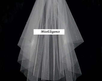 """2 tier Veil Waist Length 25""""30"""". Bridal Veil Wedding Veil Hennight Veil Communion Veil."""