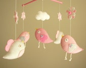 """Baby crib mobile, Bird mobile, felt mobile, nursery mobile, baby mobile,""""Bird - baby pink"""""""