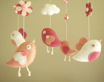 "Baby crib mobile, Bird mobile, felt mobile, nursery mobile, baby mobile ""Bird - rose"""