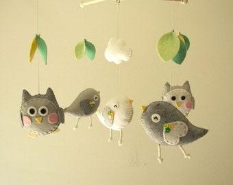 """Baby crib mobile, Bird mobile, felt mobile, nursery mobile, baby mobile, owl mobile """"Bird and Owl - grey"""""""