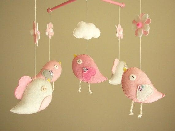 baby crib mobile bird mobile felt mobile nursery mobile. Black Bedroom Furniture Sets. Home Design Ideas