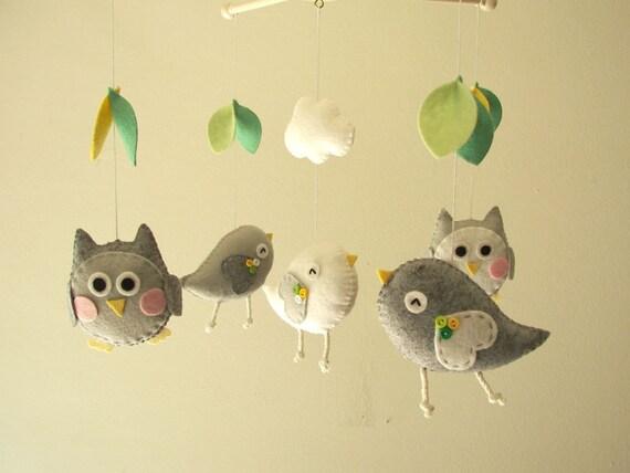 Items similar to Baby crib mobile, Bird mobile, felt ...
