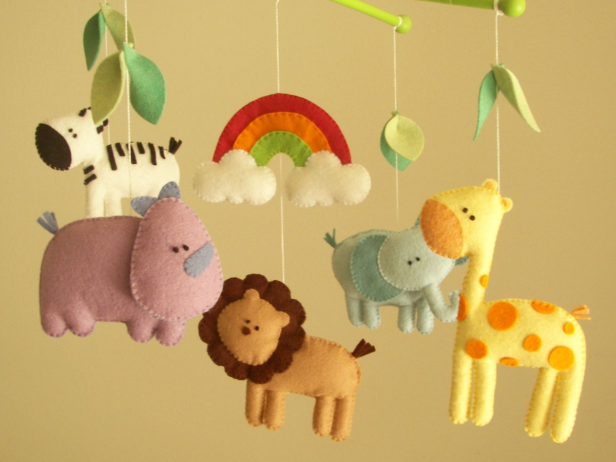 baby crib mobile safari mobile animal mobile felt mobile. Black Bedroom Furniture Sets. Home Design Ideas