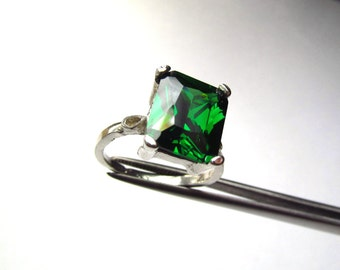 CLEARANCE Elegant Emerald Green CZ Octagon Princess in Sterling Silver Ring