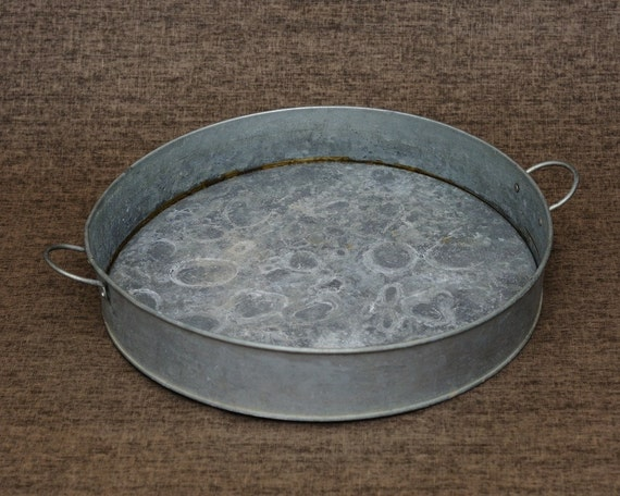 Vintage Galvanized Metal Tin Round Serving Tray