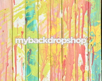2ft x 2ft Paint Splattered Pastel Wood Floor for Product Pictures -  Faux Wood Flooring for Photography Studios - Item 855