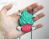 "Unique wooden cupcake shaped pendant necklace in mint green and pink color (""Pink 69"")"