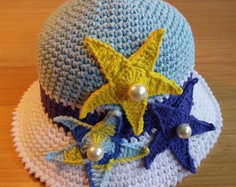 CROCHET PATTERN Hat, Children Pattern Hat, Crochet hat pattern, Starfish, Beach Hat, Brim Hat, Marine, Ocean, Spring, Woman, Sea Star, Baby