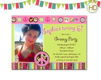 Peace, Love and Cupcakes Invitation, Hippie Chick Invitation, Peace Sign & Photo Birthday Invite, Photo Birthday Party
